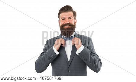 Think Different. Event Manager. Business In Modern Life. Groom Ready For Wedding. Bearded Man In For