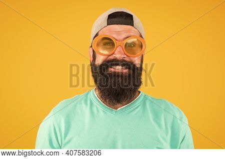 Time For Fun. Casual Hipster Outfit. Funny Man Having Fun. Bearded Guy In Party Glasses. Just Like A