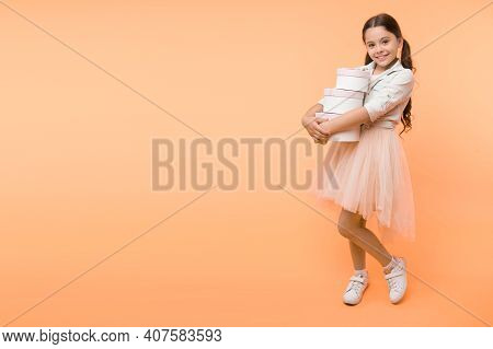 Girl Carries Pile Boxes. Save Money Shopping Sale Season. Back To School Season Great Time To Teach