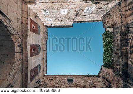 Upward Atrium View In Diocletian Palace In Split Old Town In Croatia In Summer