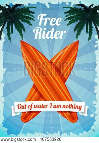 Free Rider - Ocean Vacation Surfboards Poster Vector Illustration