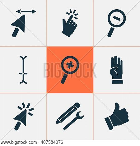Cursor Icons Set With Zoom In, Pointer, Four Fingers And Other Resize Width Cursor Elements. Isolate