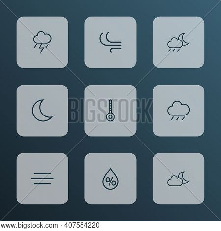 Weather Icons Line Style Set With Humidity, Nigth, Thermometer And Other Temperature Elements. Isola