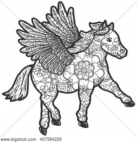 Animal Coloring Pages. Pony With Wings. Line Art Design In Zentangle Style.