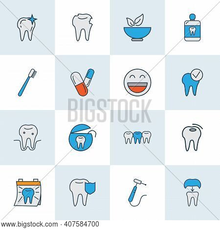 Enamel Icons Colored Line Set With Dental Crown, Pills, Clean Tooth And Other Mortar Elements. Isola