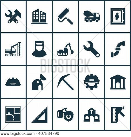 Construction Icons Set With Wrench, Concrete Mixer, Electrical Board And Other Triangle Ruler Elemen