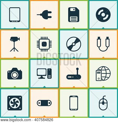 Hardware Icons Set With Usb Cable, Plug, Cpu And Other Cd-rom Elements. Isolated Vector Illustration