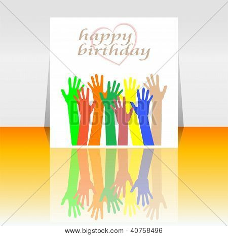 Excited Hands Happy Birthday Card Design