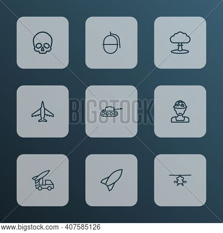 Army Icons Line Style Set With Skull, Fighter, Grenade And Other Military Elements. Isolated Vector