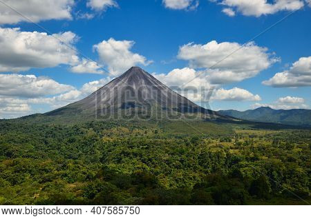 Volcano Arenal Next To The Rainforest, Costa Rica Pacific, Nationalpark, Great Landscape Panorama, N