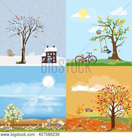 Landscape Natural Backgrounds Of Four Seasons. Winter Wonderland,spring Green Field,sunny Day Sea Be