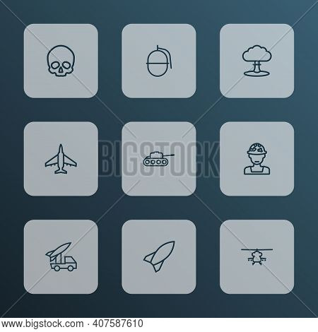 Warfare Icons Line Style Set With Skull, Fighter, Grenade And Other Military Elements. Isolated Illu