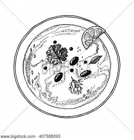 Chickpeas Hummus Or Vegetarian Vegan Traditional Arabic Food. Pea Dish. Vector Illustration