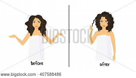 Before And After Hair Care Concept. Young Beautiful Curly Girl Before And After Hair Styling. Shaggy