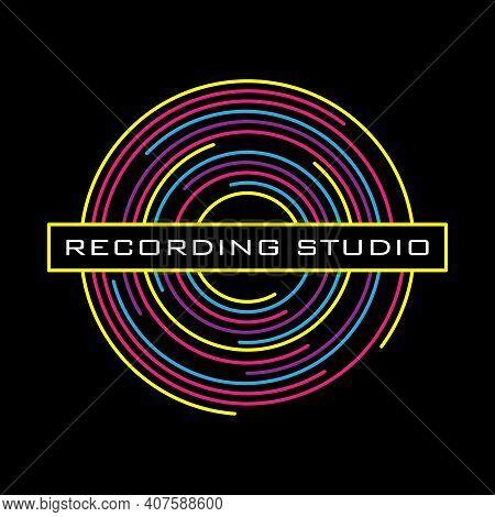 Vinyl Record Logo For A Recording Studio. Vinyl Line On A Black Background. Vector.