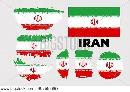 Brush Flag Of Iran. Happy Islamic Revolution Day Of Iran With Grungy Flag