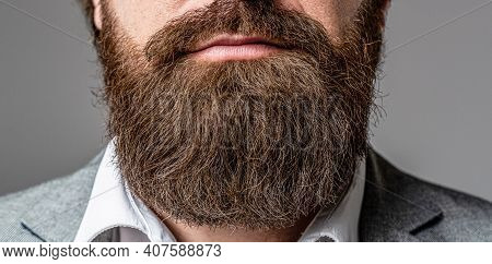 Bearded Man Close Up. Beard Is His Style. Closeup Of Bearded Mans. Male With Mustache Growing. Perfe