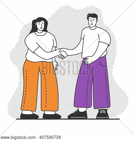 A Man And Woman Shaking Hands.friendship Handshake Acquaintance.