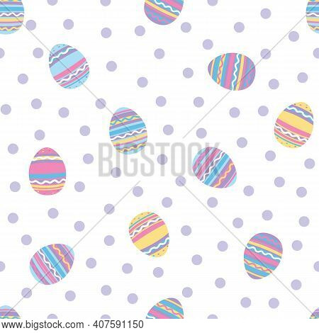 Tossed Painted Easter Eggs With Polka Dot Background.