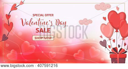 Romantic Template Of Sale Horizontal Banner For Valentine's Day. Gift Box With Heart Shape Balloons.