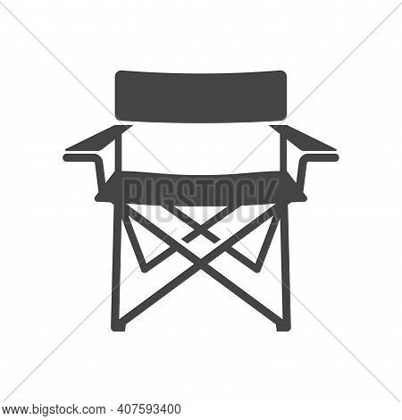 Camping Chair Bold Black Silhouette Icon Isolated On White Background. Folding Seat.
