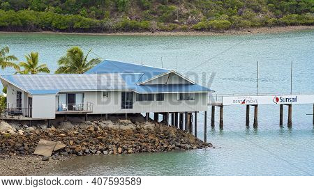 Airlie Beach, Queensland, Australia - February 2021: Building Housing Yacht Charters And Sail Boat H
