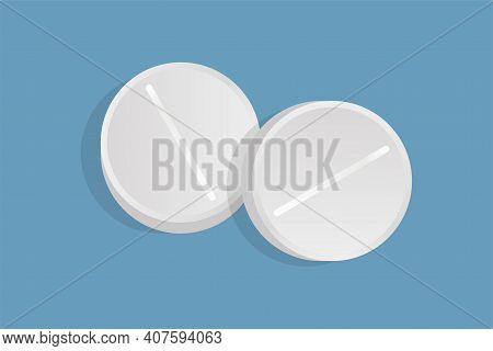 Two Round Pills Vector Flat Illustration Isolated On Blue Background. White Drugs, Painkillers, Anti
