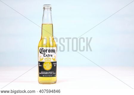 Kharkov, Ukraine - December 9, 2020: Bottle Of Corona Extra Beer. Corona Produced By Grupo Modelo Wi