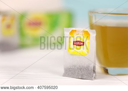 Kharkov, Ukraine - December 8, 2020: Lipton Classic Green Tea Bags. Lipton Is A British Brand Of Tea