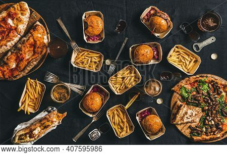 Lockdown Takeaway Fast Food Dinner From Delivery Service Concept. Flat-lay Of Quarantine Home Party