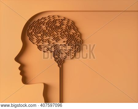Brain Shaped Maze. Concept Image Of Study And Brain Behavior. 3d Illustration.