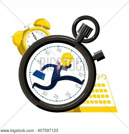 Vector Illustration Metaphor With Person Running Inside Stopwatch, Holding Light Bulb. There Is Alar