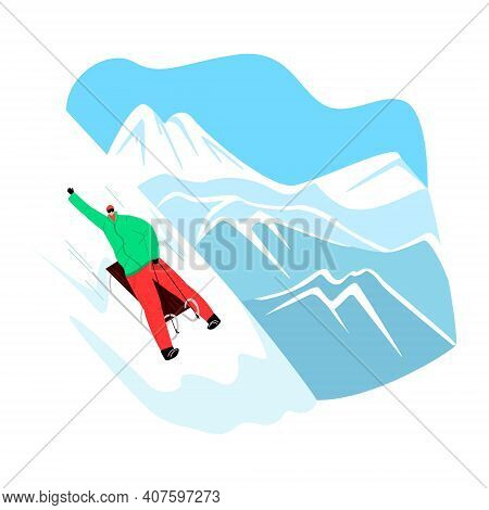 Vector Illustration With Character Rolling Down Slope On Sled Against Panorama Of Snowy Mountain Pea