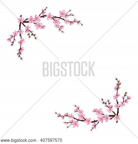 Cute Sakura Flowers Icon Set. The Cherry Branches Have Bloomed. Spring Pink Blooming Composition Wit