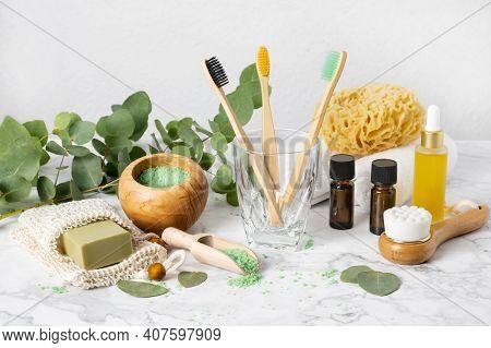 Eco-friendly Bathroom Accessories: Bamboo Toothbrush, Sea Sponge, Natural Soap In Organic Saver Bag