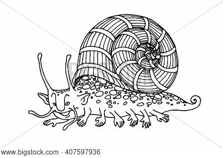 Funny Monster, Cute Snail, Mollusk With Hands, Human Face, Horns And Striped Shell, Aquarium Pet, Sp