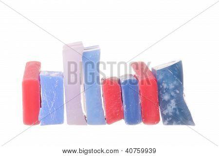 Ski wax on white background