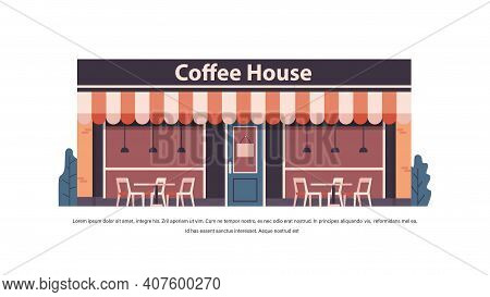 Modern Coffee House Store Empty No People City Building Facade Front View Horizontal Copy Space Vect