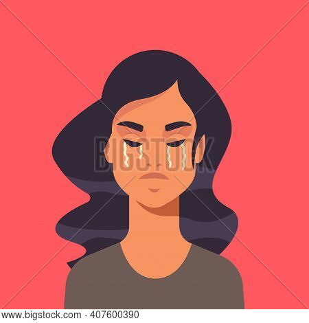 Unhappy Terrified Girl Crying Stop Violence And Aggression Against Women Concept Portrait Vector Ill