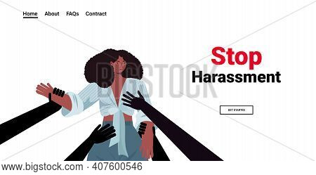 Mans Hands Touching African American Woman Stop Harassment And Abuse No Sexual Violence Concept Port