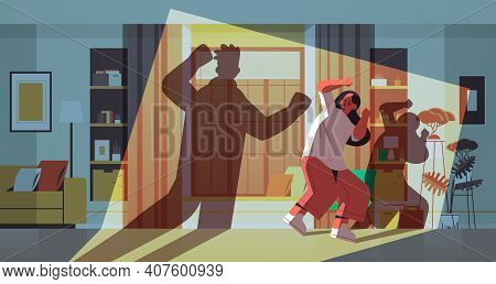 Shadow Of Angry Husband Punching And Hitting Wife Stop Domestic Violence And Aggression Against Wome
