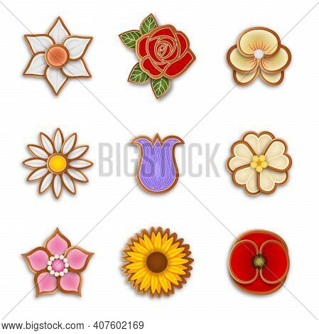 Set Of Isolated Flower Gingerbread Cookies Illustration Vector