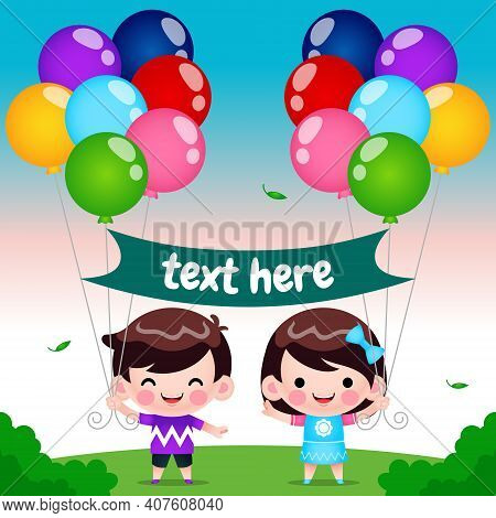 Illustration Vector Graphic Of Cartoon Cute Children With Colorful Balloons Decorations. Perfect For
