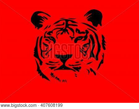 Tiger Vector Illustration Isolated On Background , Wildcat, Wildlife, Zoo