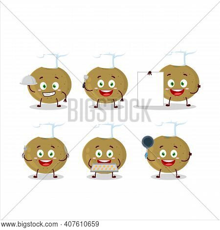 Cartoon Character Of Ceylon Gooseberry With Various Chef Emoticons