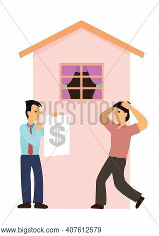 Bank Asks For Loan Mortgage Debt From Property Owner. Real Estate Investment Or Home Mortgage Loan C