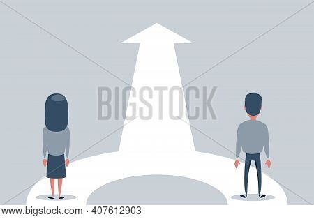 Family Growth Vector Concept With Man And Woman Walking Towards Upwards Arrow. Symbol Of Success, Pr