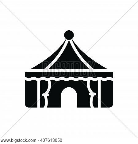 Black Solid Icon For Tent Lodgement Pavilion Camp Marquee Awning Canopy