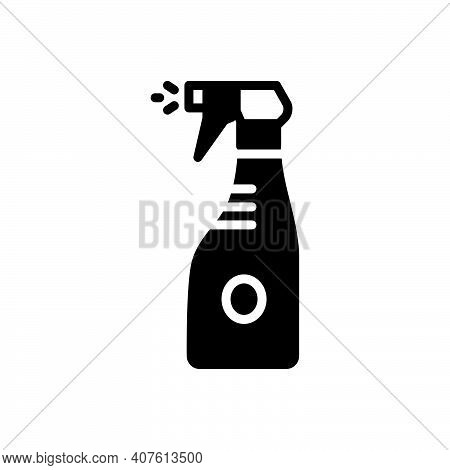 Black Solid Icon For Sprinkle Clean Neat Spotless Spray Bottle