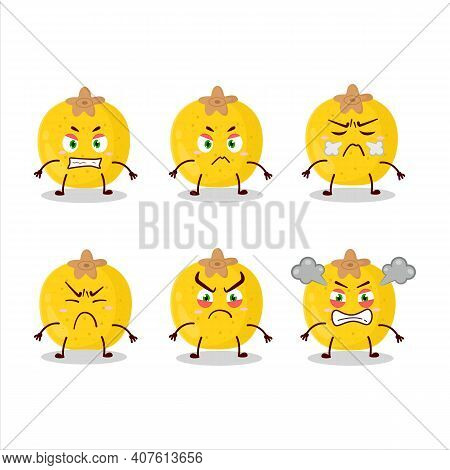 Nance Fruit Cartoon Character With Various Angry Expressions